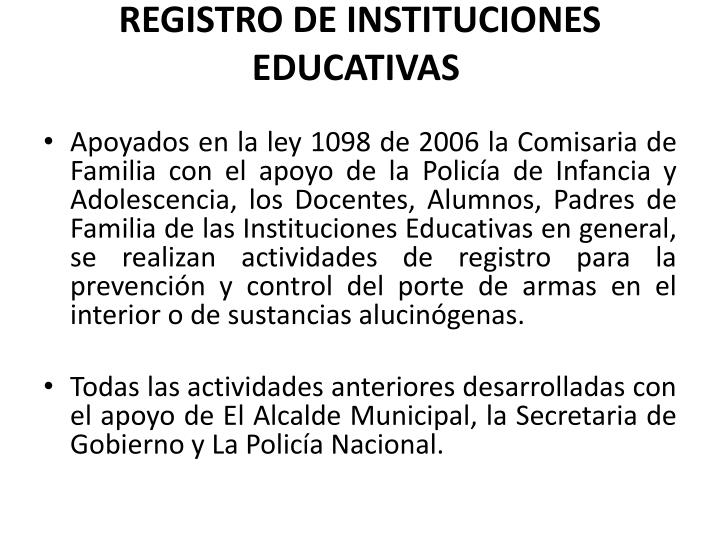 REGISTRO DE INSTITUCIONES EDUCATIVAS
