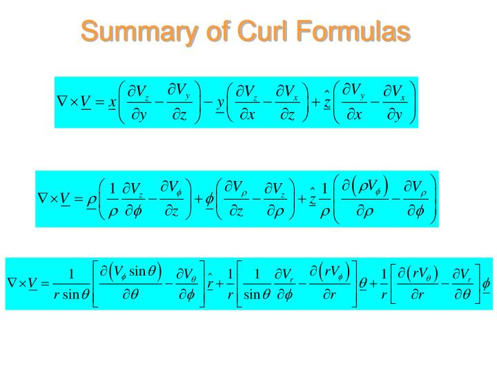 Summary of Curl Formulas