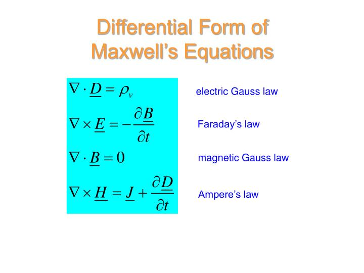 Differential Form of Maxwell's Equations