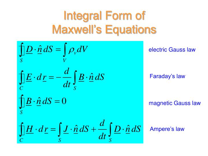 Integral Form of Maxwell's Equations