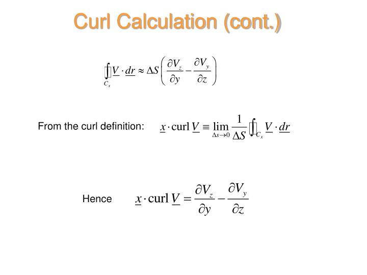 Curl Calculation (cont.)