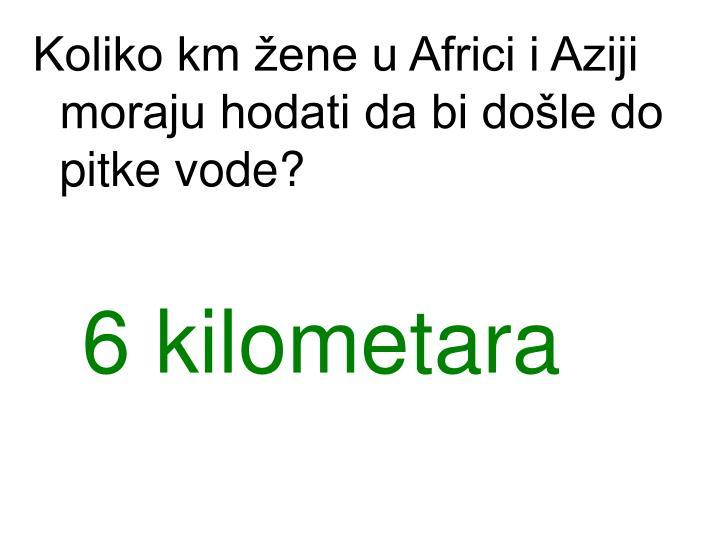 Koliko km žene u Africi i Aziji moraju hodati da bi došle do pitke vode?