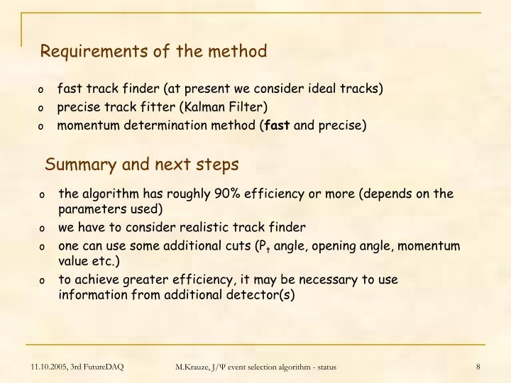 Requirements of the method