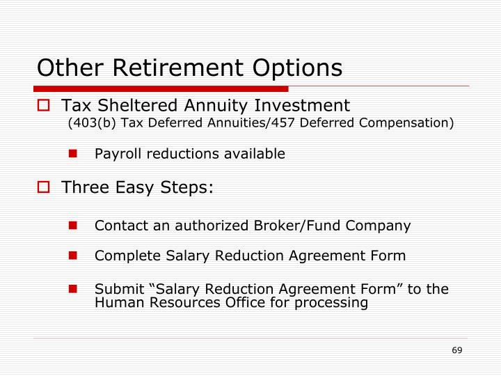 Other Retirement Options