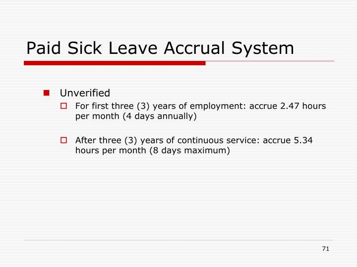 Paid Sick Leave Accrual System