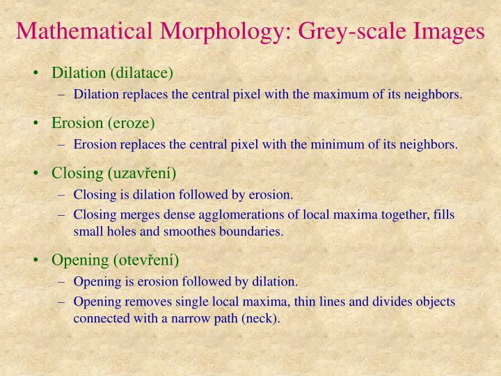 Mathematical Morphology: Grey-scale Images