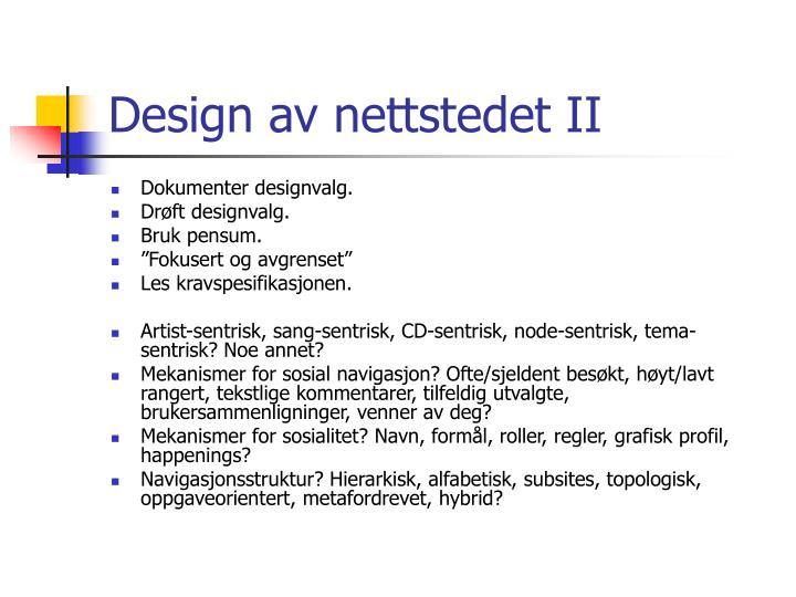 Design av nettstedet II