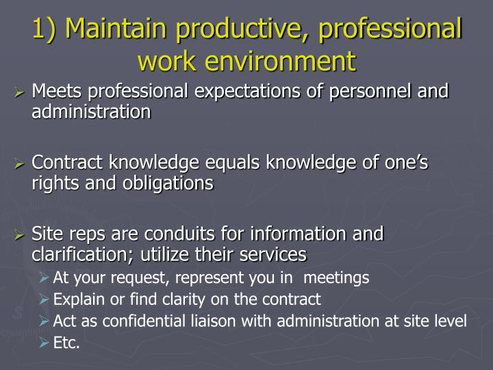 1) Maintain productive, professional work environment