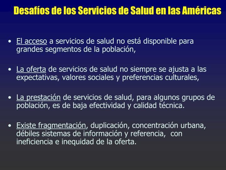 Desafíos de los Servicios de Salud en las Américas