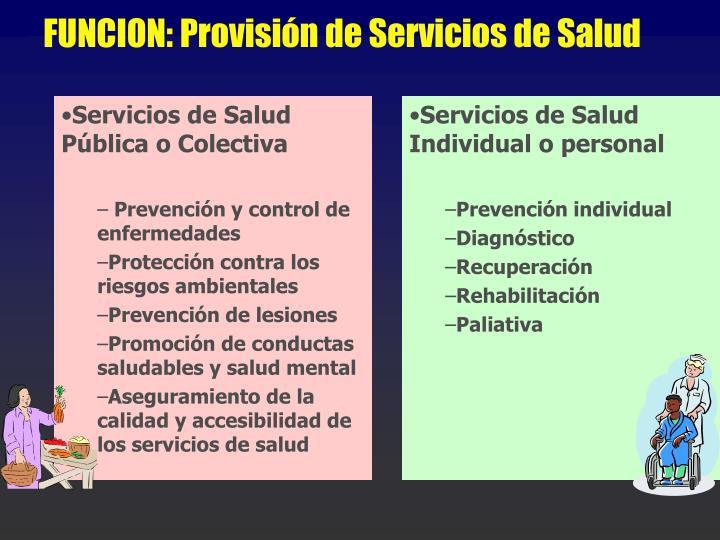 Servicios de Salud Pública o Colectiva