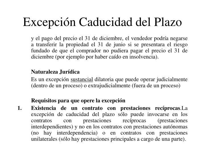 Excepción Caducidad del Plazo