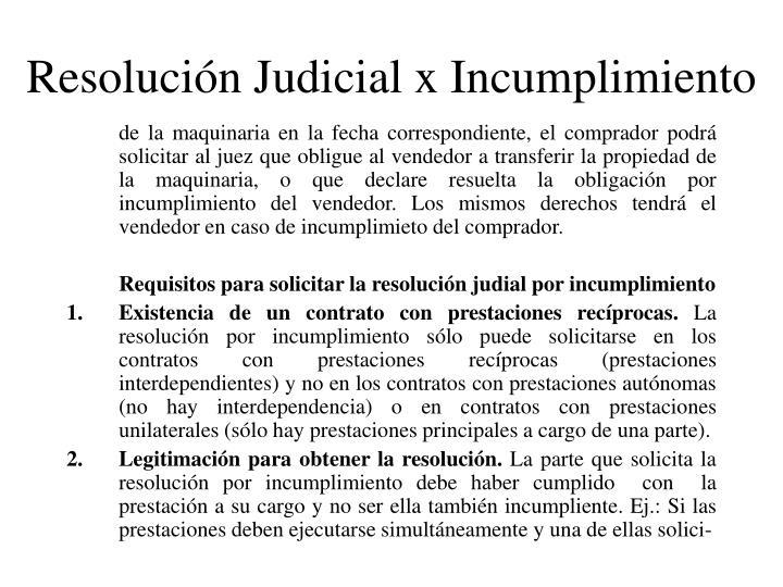 Resolución Judicial x Incumplimiento