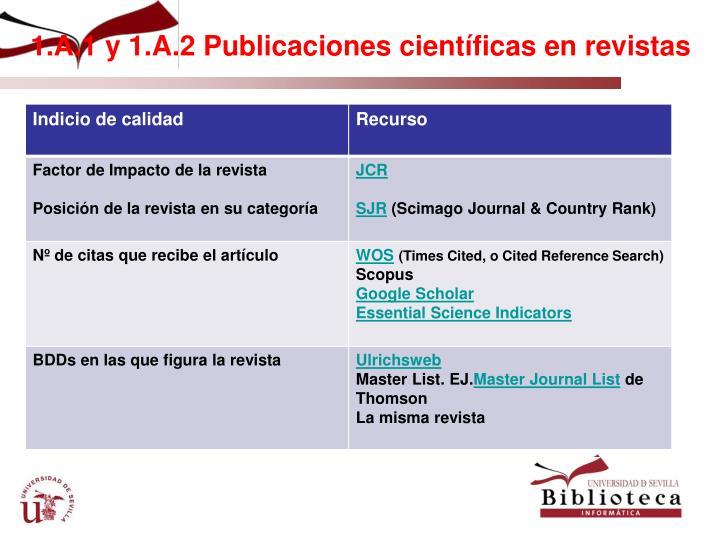 1.A.1 y 1.A.2 Publicaciones científicas en revistas