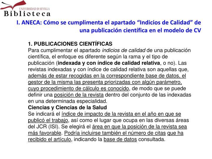 """I. ANECA: Cómo se cumplimenta el apartado """"Indicios de Calidad"""" de una publicación científica en el modelo de CV"""