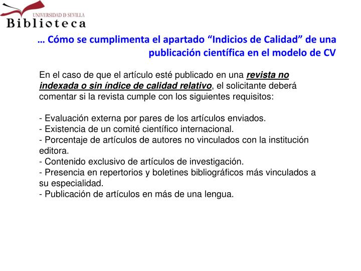 """… Cómo se cumplimenta el apartado """"Indicios de Calidad"""" de una publicación científica en el modelo de CV"""
