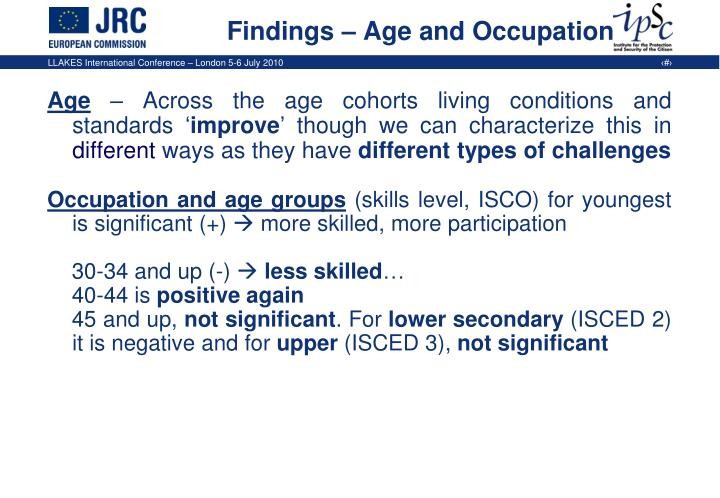Findings – Age and Occupation