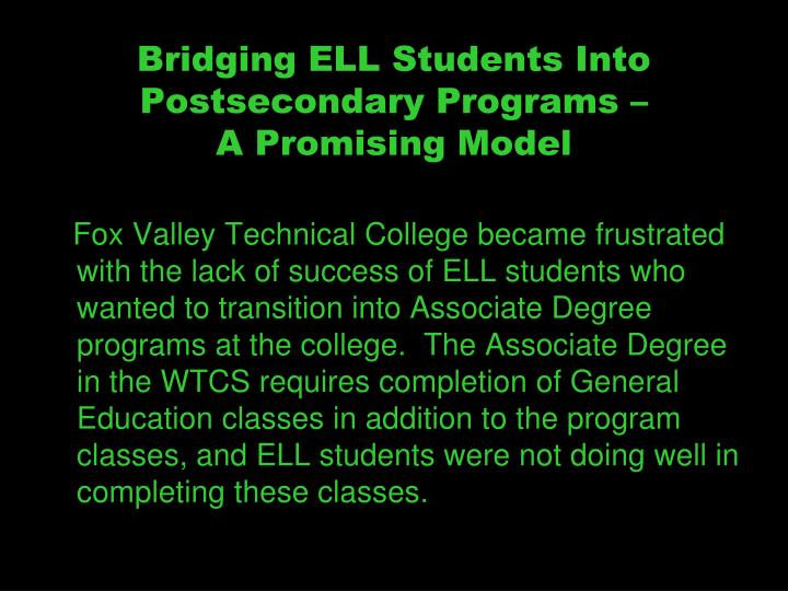 Bridging ELL Students Into Postsecondary Programs –