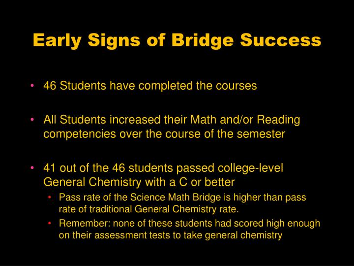 Early Signs of Bridge Success