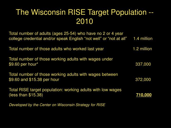 The Wisconsin RISE Target Population -- 2010