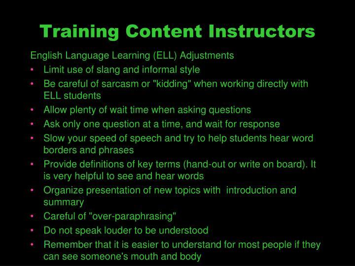 Training Content Instructors