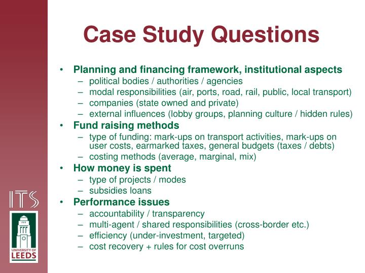 financial case study questions Ngpf case studies present personal finance issues in the context of real-life situations with all their ambiguities students have the opportunity to explore decision-making through discussion, practice empathy, evaluate different courses of action, develop communication skills in group settings, and are.