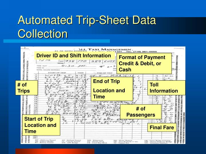 Automated Trip-Sheet Data Collection
