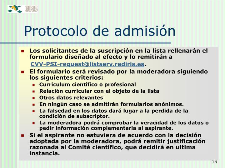Protocolo de admisión