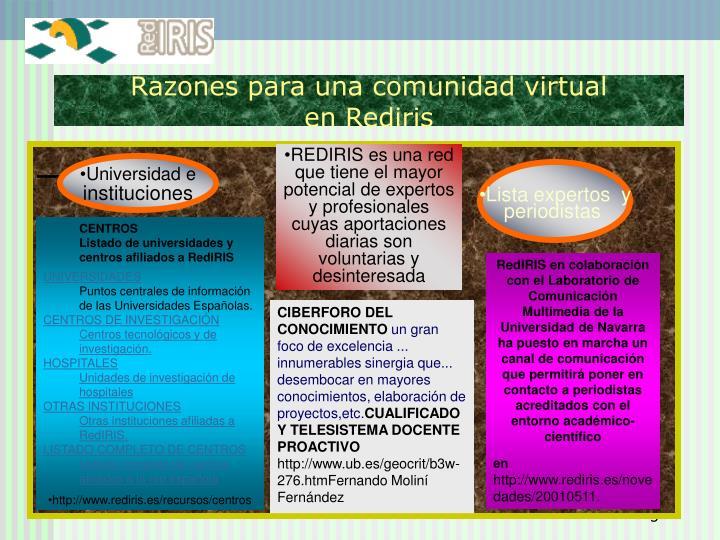 Razones para una comunidad virtual