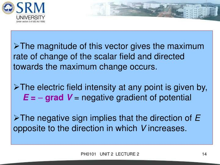 The magnitude of this vector gives the maximum rate of change of the scalar field and directed towards the maximum change occurs.