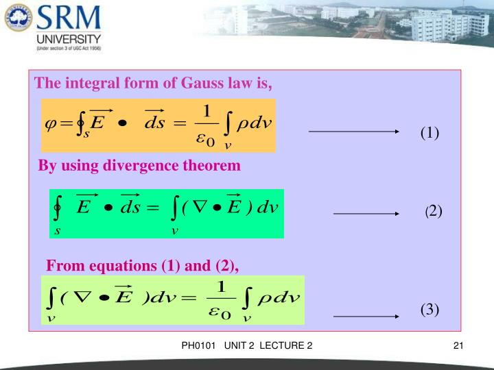 The integral form of Gauss law is