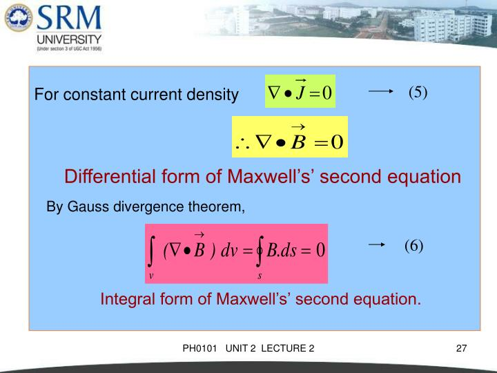 For constant current density