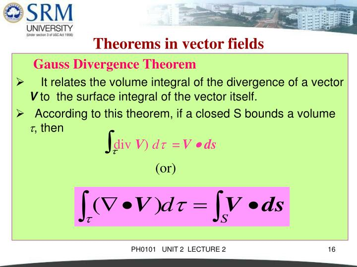 Theorems in vector fields