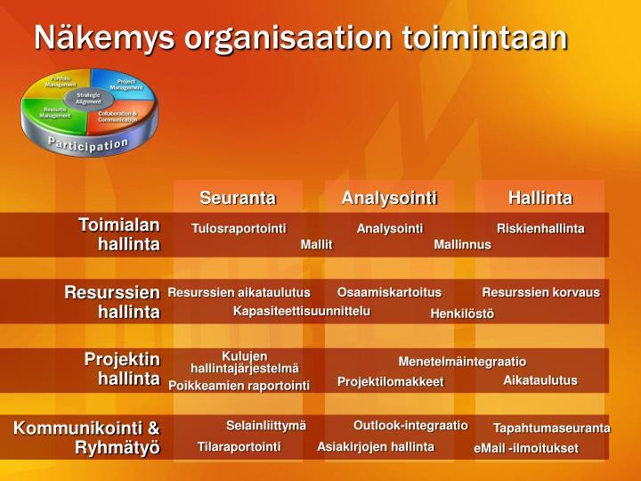 Näkemys organisaation toimintaan