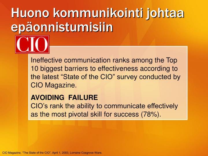 Huono kommunikointi johtaa epäonnistumisiin