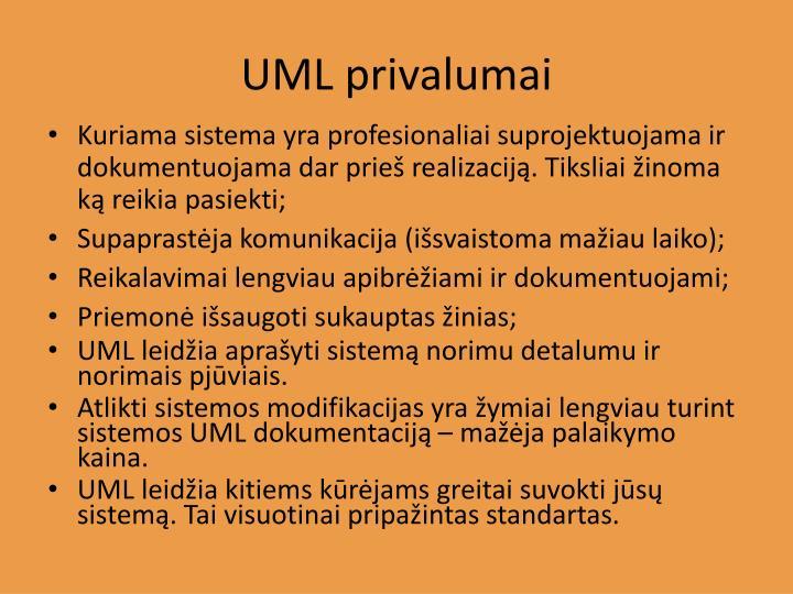 UML privalumai