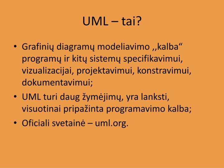 UML – tai?