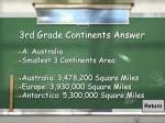 3rd grade continents answer
