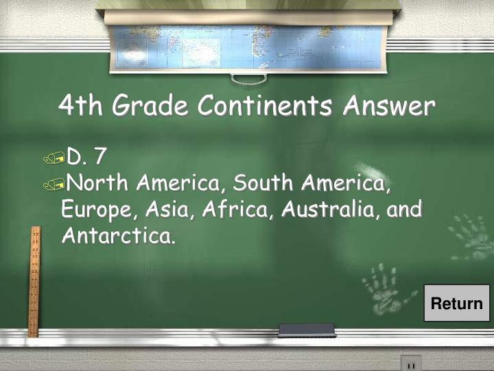 4th Grade Continents Answer