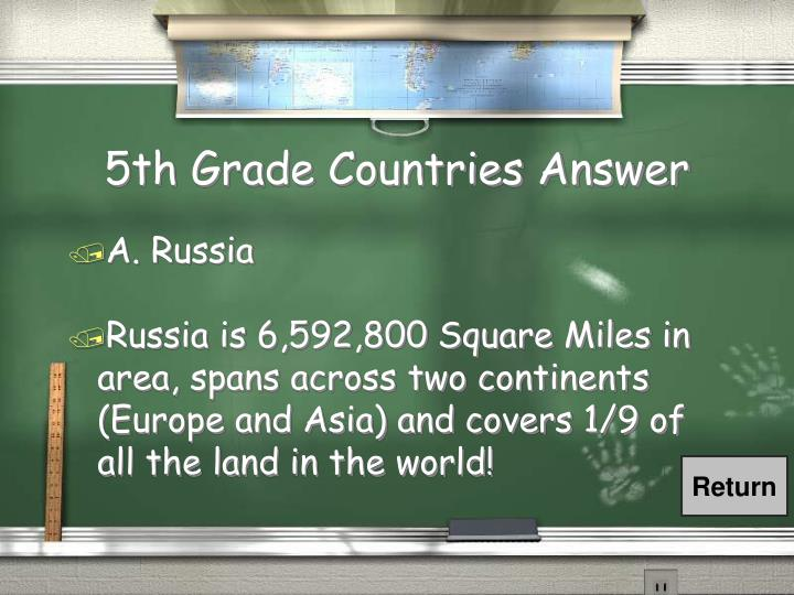 5th Grade Countries Answer