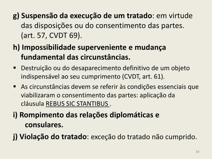 g) Suspensão da execução de um tratado