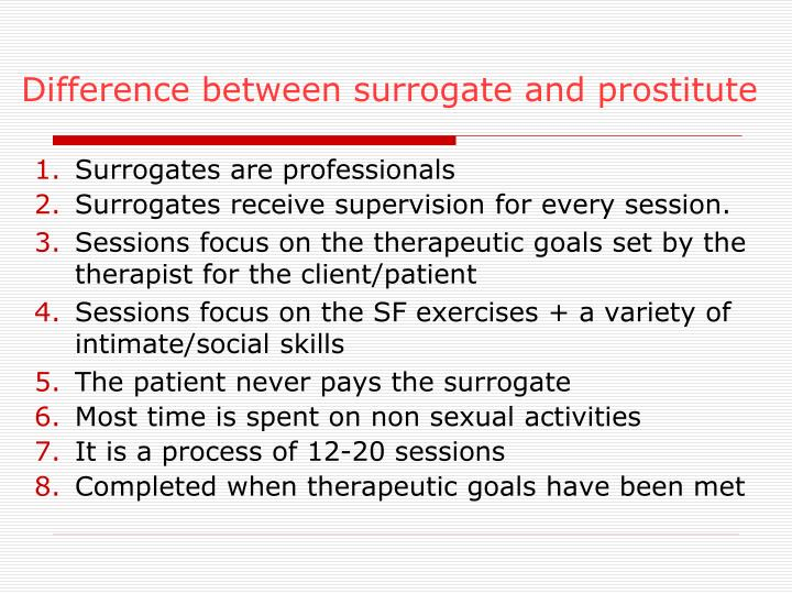 Difference between surrogate and prostitute