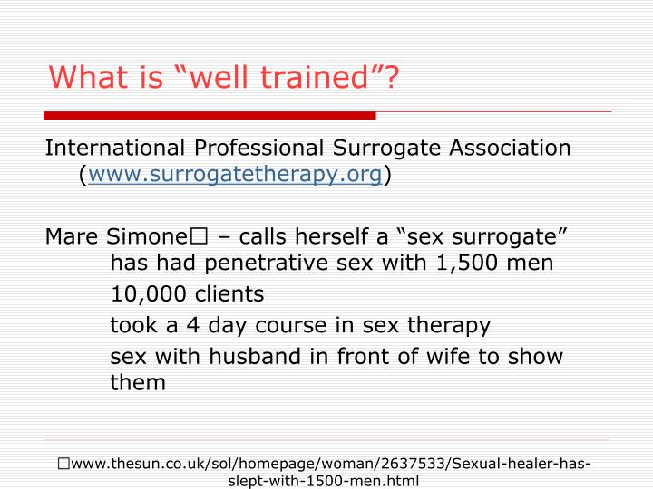 """What is """"well trained""""?"""