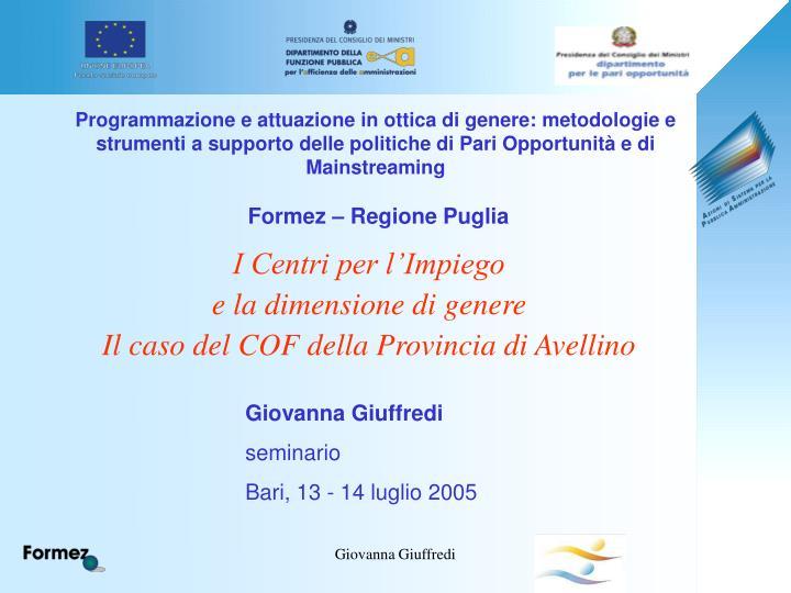 Programmazione e attuazione in ottica di genere: metodologie e strumenti a supporto delle politiche di Pari Opportunità e di Mainstreaming
