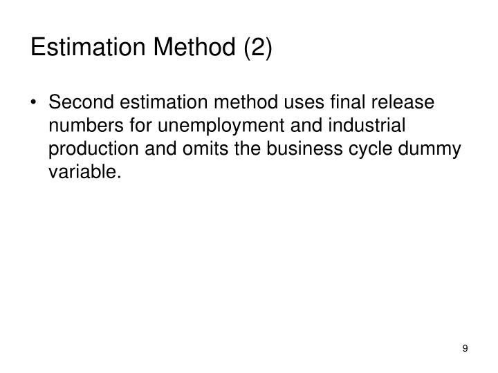 Estimation Method (2)