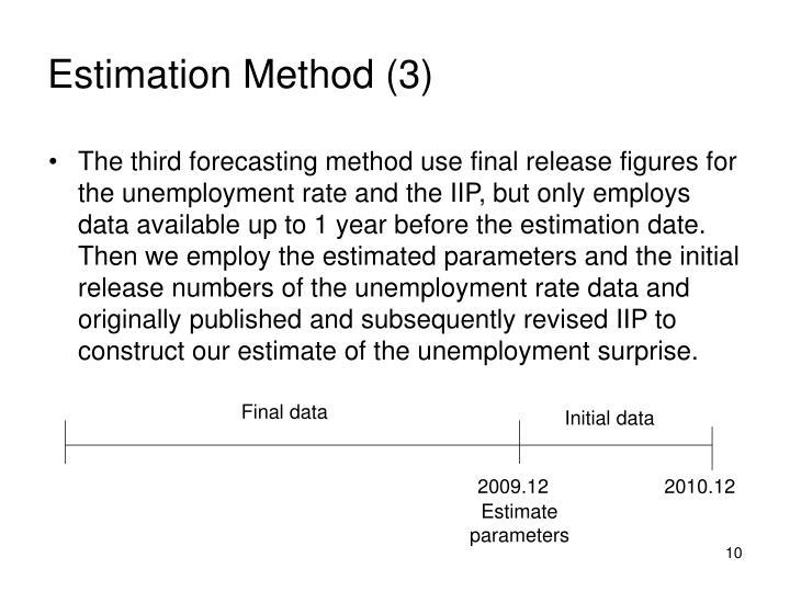 Estimation Method (3)