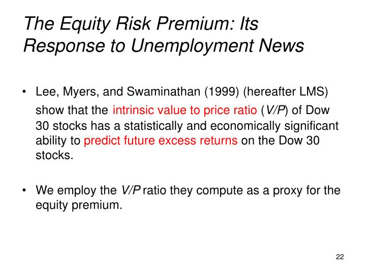 The Equity Risk Premium: Its Response to Unemployment News