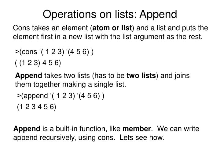 Operations on lists: Append
