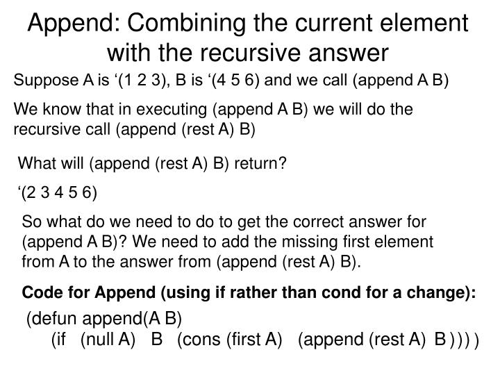 Append: Combining the current element with the recursive answer