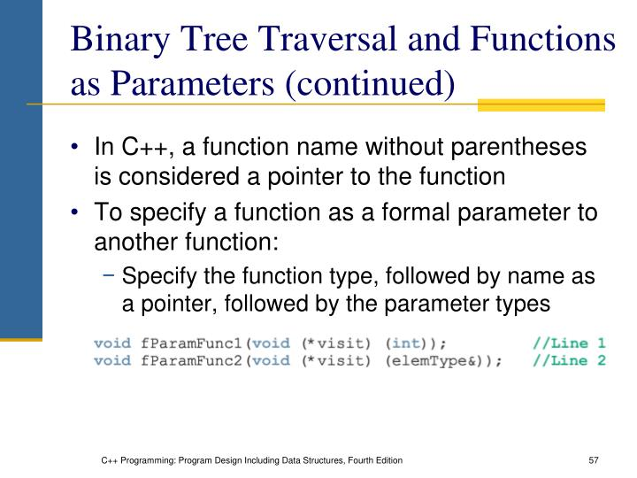 Binary Tree Traversal and Functions as Parameters (continued)