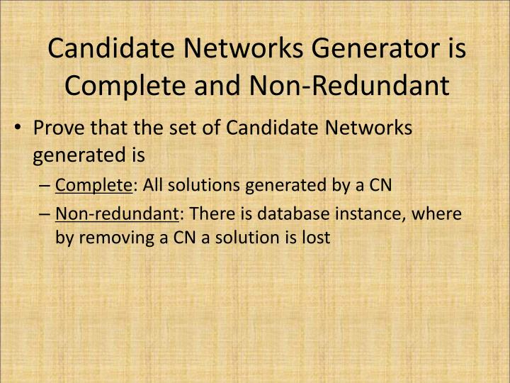 Candidate Networks Generator is Complete and Non-Redundant